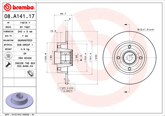 Disque de frein arriere BREMBO 08.A141.17 (X1)