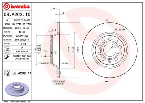 Disque de frein arriere BREMBO 08.A202.10 (Jeu de 2)