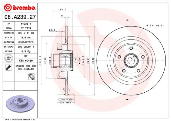 Disque de frein BREMBO 08.A239.27 (X1)
