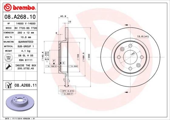 Disque de frein BREMBO 08.A268.10 (Jeu de 2)