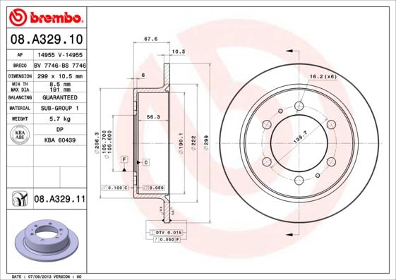 Disque de frein BREMBO 08.A329.11 (Jeu de 2)