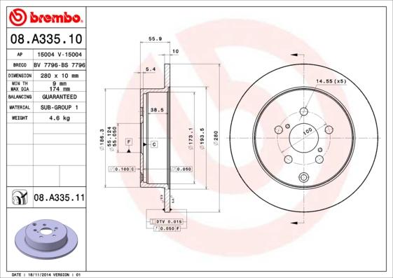 Disque de frein arriere BREMBO 08.A335.11 (Jeu de 2)