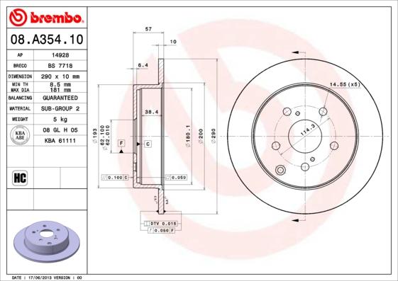 Disque de frein arriere BREMBO 08.A354.10 (Jeu de 2)
