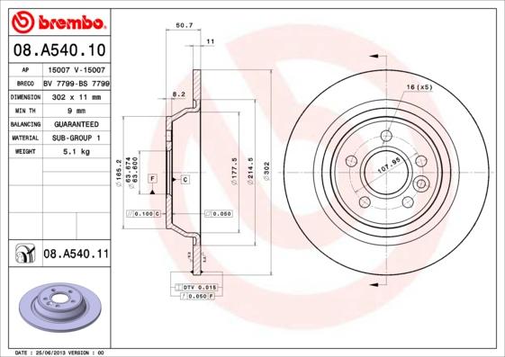 Disque de frein arriere BREMBO 08.A540.10 (Jeu de 2)
