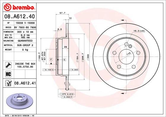 Disque de frein arriere BREMBO 08.A612.41 (Jeu de 2)