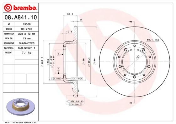 Disque de frein arriere BREMBO 08.A841.10 (Jeu de 2)
