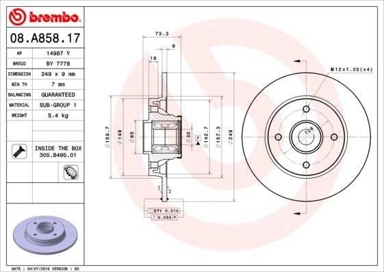 Disque de frein arriere BREMBO 08.A858.17 (X1)