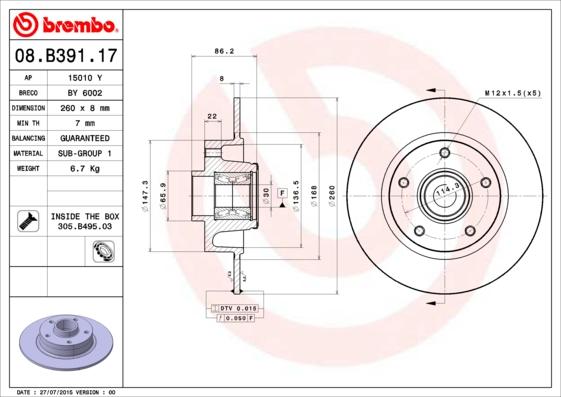 Disque de frein arriere BREMBO 08.B391.17 (X1)
