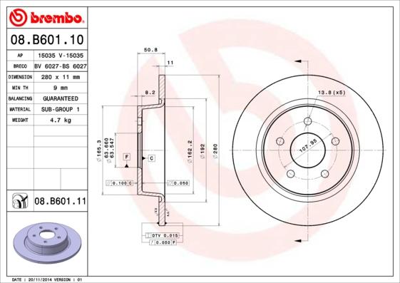 Disque de frein arriere BREMBO 08.B601.11 (Jeu de 2)