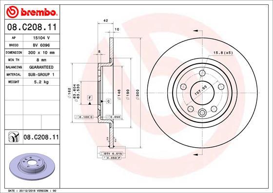 Disque de frein BREMBO 08.C208.11 (Jeu de 2)