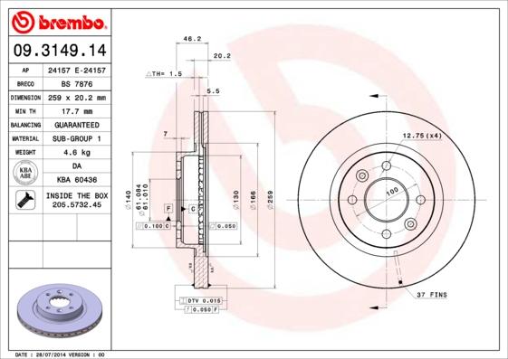 Disque de frein BREMBO 09.3149.14 (Jeu de 2)