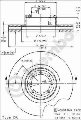 Disque de frein avant BREMBO 09.3798.10 (X1)