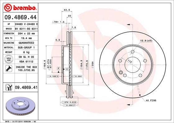 Disque de frein avant BREMBO 09.4869.41 (Jeu de 2)