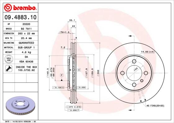 Disque de frein avant BREMBO 09.4883.10 (Jeu de 2)