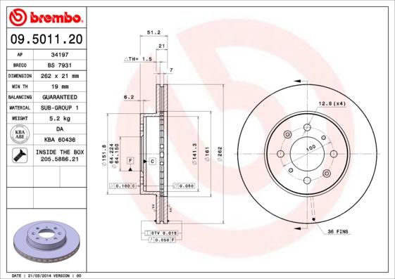 Disque de frein avant BREMBO 09.5011.20 (Jeu de 2)