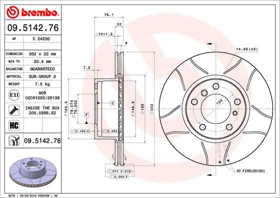 Disque de frein avant BREMBO 09.5142.76 (Jeu de 2)