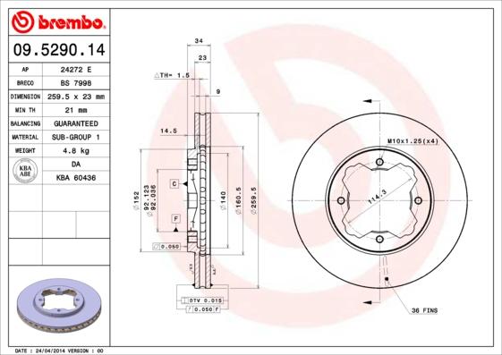 Disque de frein avant BREMBO 09.5290.14 (Jeu de 2)