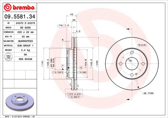 Disque de frein avant BREMBO 09.5581.34 (Jeu de 2)