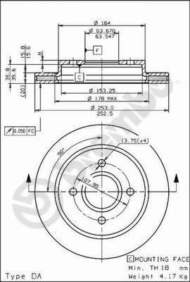 Disque de frein BREMBO 09.5708.75 (Jeu de 2)