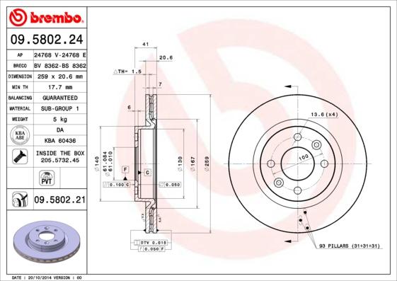 Disque de frein avant BREMBO 09.5802.21 (Jeu de 2)