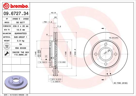 Disque de frein BREMBO 09.6727.34 (Jeu de 2)