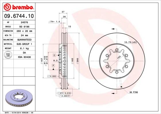 Disque de frein avant BREMBO 09.6744.10 (Jeu de 2)