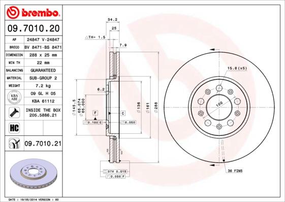 Disque de frein BREMBO 09.7010.20 (Jeu de 2)