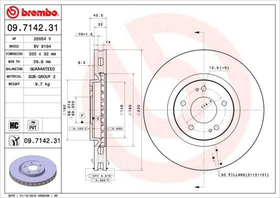 Disque de frein avant BREMBO 09.7142.31 (X1)