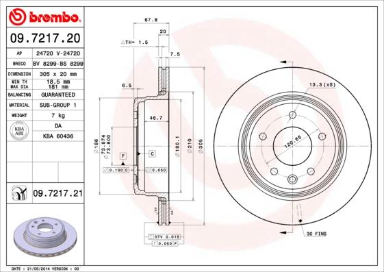 Disque de frein BREMBO 09.7217.20 (Jeu de 2)