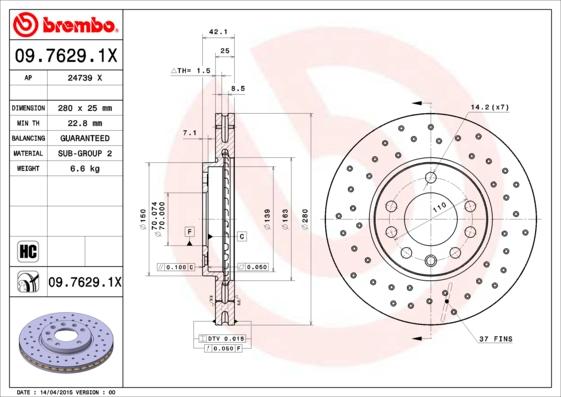 Disque de frein avant BREMBO 09.7629.1X (Jeu de 2)