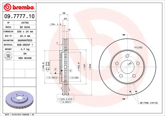 Disque de frein avant BREMBO 09.7777.10 (Jeu de 2)