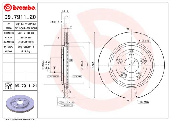 Disque de frein BREMBO 09.7911.20 (Jeu de 2)