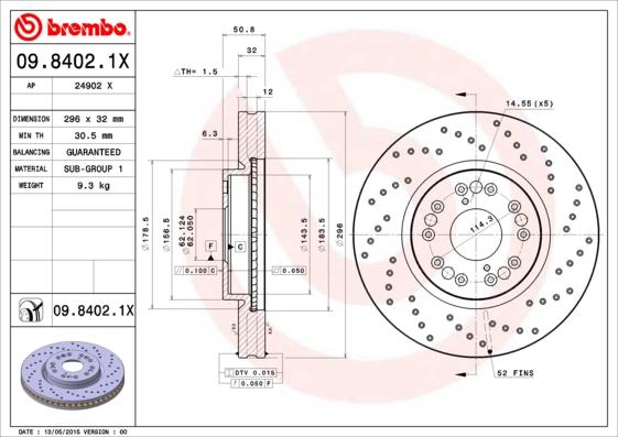 Disque de frein avant BREMBO 09.8402.1X (X1)