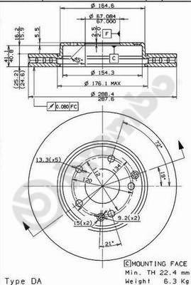 Disque de frein avant BREMBO 09.8411.11 (Jeu de 2)