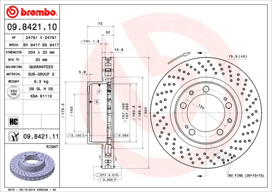 Disque de frein avant BREMBO 09.8421.11 (X1)