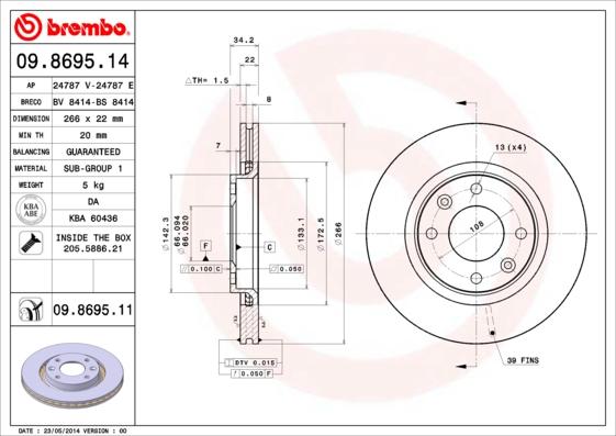 Disque de frein BREMBO 09.8695.14 (Jeu de 2)