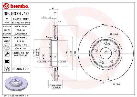Disque de frein avant BREMBO 09.9074.11 (X1)
