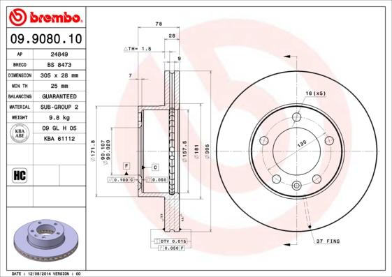 Disque de frein BREMBO 09.9080.10 (X1)