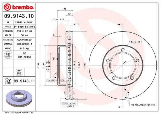 Disque de frein avant BREMBO 09.9143.11 (X1)