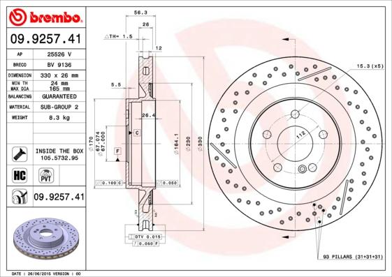 Disque de frein arriere BREMBO 09.9257.41 (X1)