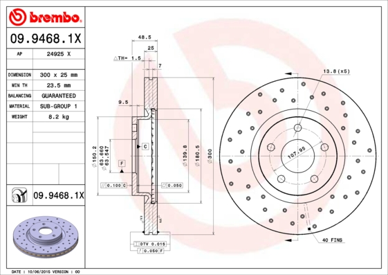 Disque de frein BREMBO 09.9468.1X (Jeu de 2)