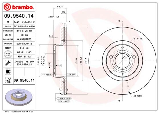 Disque de frein avant BREMBO 09.9540.11 (X1)