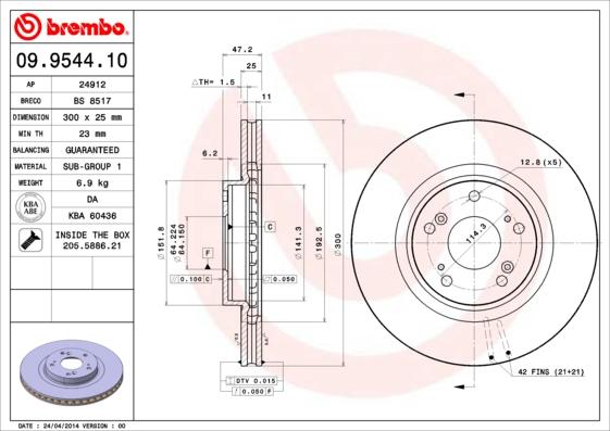 Disque de frein avant BREMBO 09.9544.10 (Jeu de 2)
