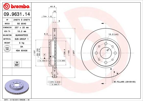 Disque de frein avant BREMBO 09.9631.14 (Jeu de 2)
