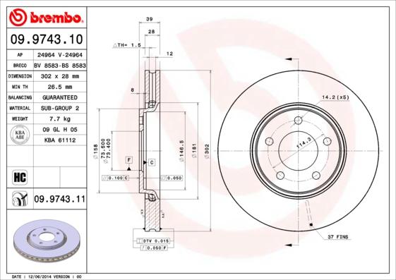 Disque de frein BREMBO 09.9743.11 (Jeu de 2)