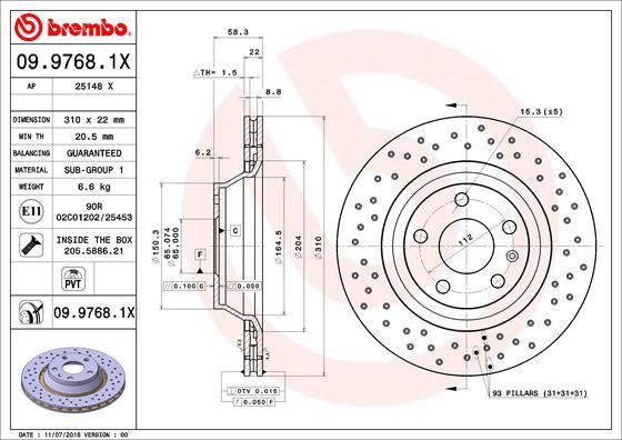 Disque de frein BREMBO 09.9768.1X (Jeu de 2)