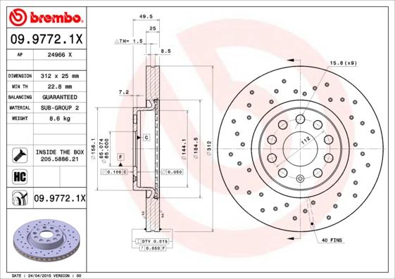 Disque de frein avant BREMBO 09.9772.1X (Jeu de 2)