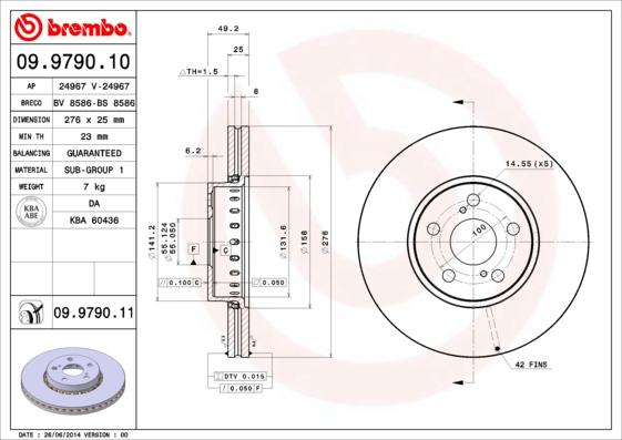 Disque de frein avant BREMBO 09.9790.11 (Jeu de 2)