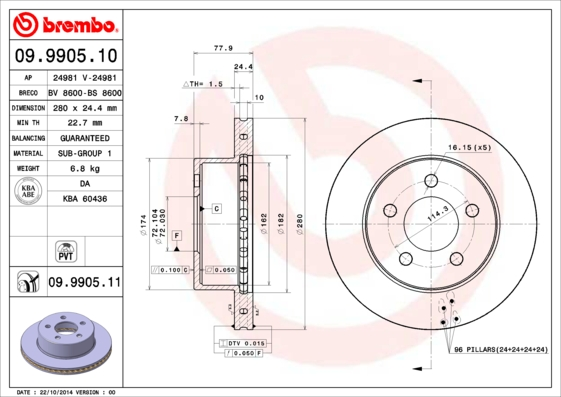 Disque de frein avant BREMBO 09.9905.11 (Jeu de 2)