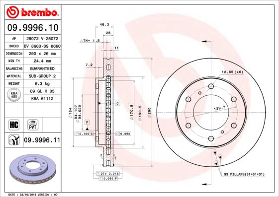 Disque de frein avant BREMBO 09.9996.10 (Jeu de 2)